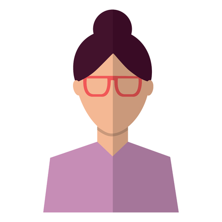 Woman with glasses avatar portrait icon image vector illustration design.