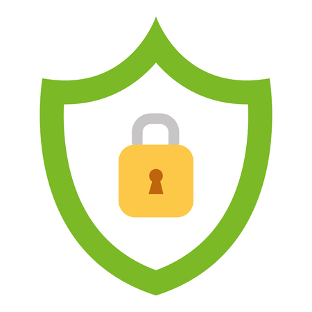 shield with safe secure padlock vector illustration design Illustration