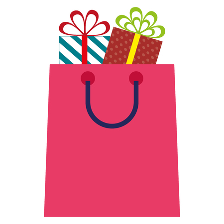 shopping bag with gifts vector illustration design