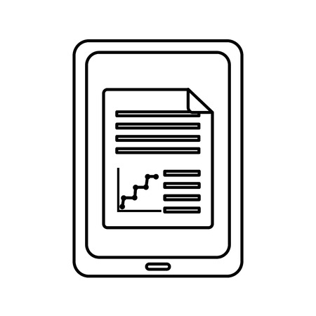 Tablet with graph chart on screen gadget device icon image vector illustration design