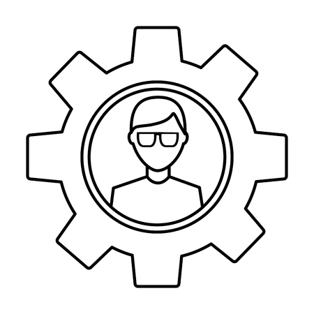 Avatar with glasses inside gear setting technology outline image Stock Vector - 92180105