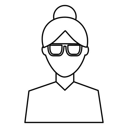 Avatar féminin portrait caractère femme vector illustration image de contour Banque d'images - 92191437