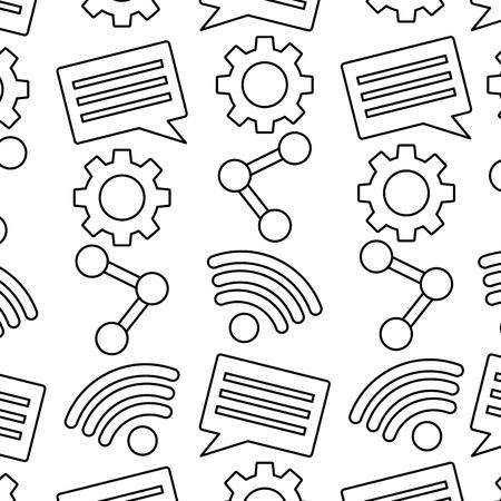 Internet wifi share chat setting pattern vector illustration. Ilustração