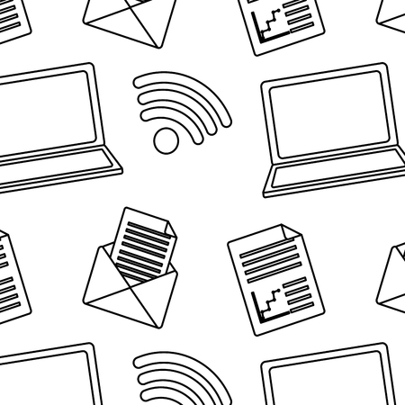 seamless pattern internet laptop wireless internet email and document vector illustration