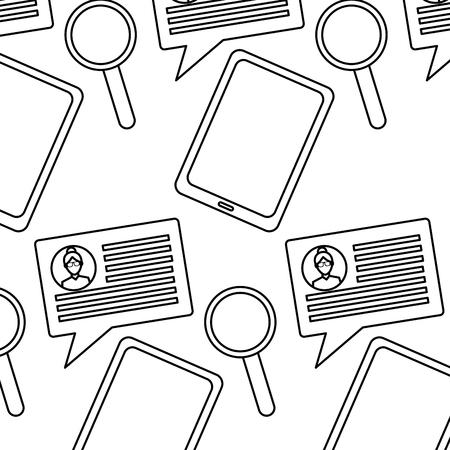 tablet speech bubble magnifier internet technology pattern vector illustration