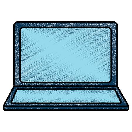 열린 노트북 장치 무선 기술 벡터 일러스트 그리기 이미지