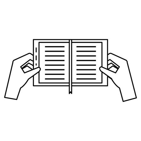 handen met vector de illustratieontwerp van het boekpictogram Stock Illustratie