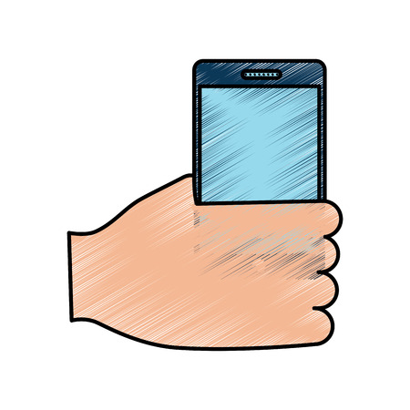 Hand holding smartphone device wireless vector illustration drawing image Фото со стока - 92191808