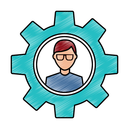 avatar with glasses inside gear setting technology drawing image