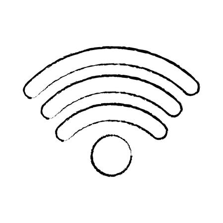draadloos internet signaal pictogram afbeelding vector illustratie ontwerp zwarte schets lijn Stock Illustratie
