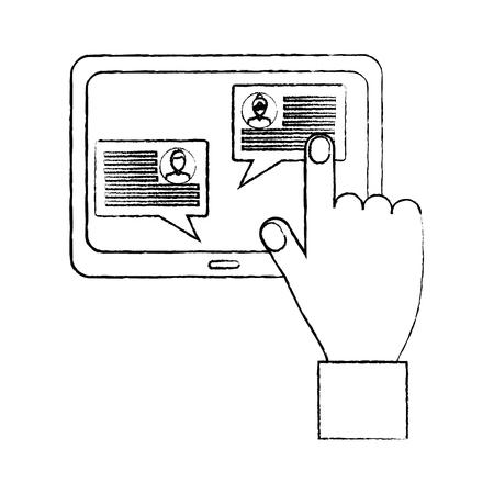 화면에 태블릿 메시지와 함께 손 아이콘 이미지 벡터 일러스트 디자인 검은 스케치 라인