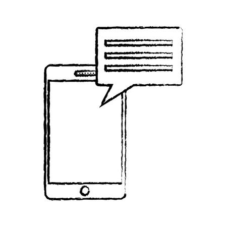 smartphone with chat bubble gadget icon image vector illustration design  black sketch line Illustration