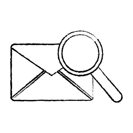 돋보기 아이콘 이미지 벡터 일러스트와 함께 메시지 봉투 디자인 검은 스케치 라인