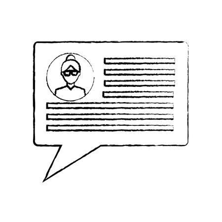 chatgesprek bubble met gebruikersprofiel pictogram afbeelding vector illustratie ontwerp zwarte schets lijn