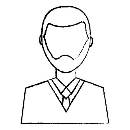 man with beard avatar profile icon image vector illustration design  black sketch line Illustration