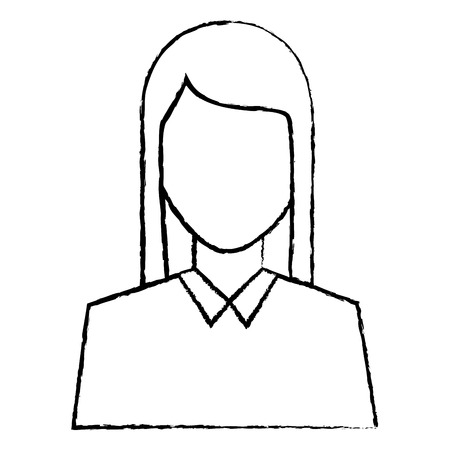 woman avatar portrait icon image vector illustration design  black sketch line