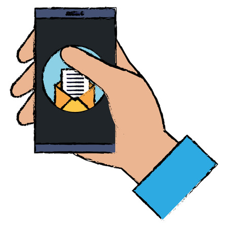 user with smartphone device and envelope vector illustration design Illustration