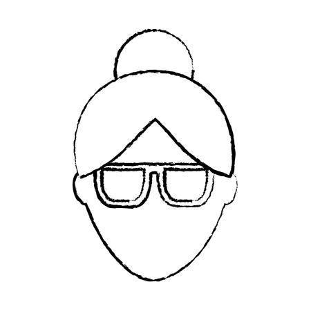 woman glasses avatar icon image vector illustration design  black sketch line
