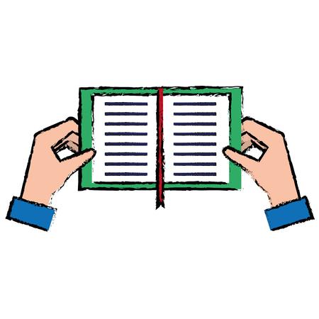 Handen met vector de illustratieontwerp van het boekpictogram