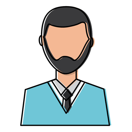Man with beard avatar profile icon image vector illustration design