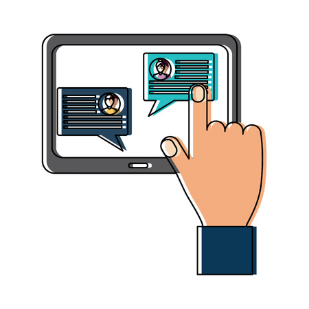 画面アイコン画像ベクトルイラストデザインにタブレットメッセージ付き手
