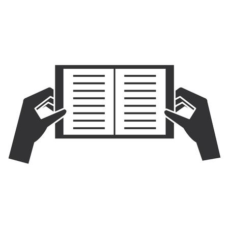 Handen met vector de illustratieontwerp van het boekpictogram Stockfoto - 92272430