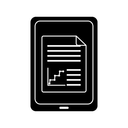 画面上のグラフチャートを持つタブレットガジェットデバイスアイコン画像ベクトルイラストデザイン白黒