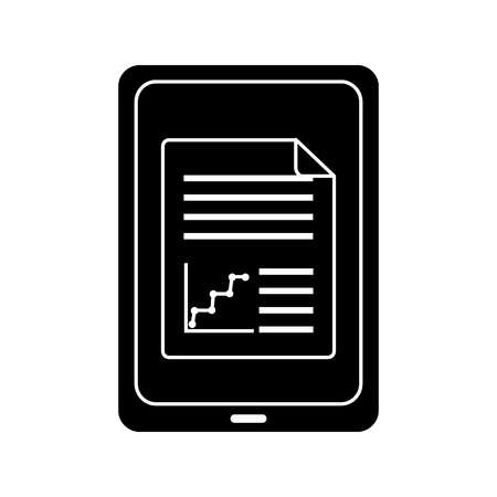 tablet with graph chart on screen gadget device icon image vector illustration design  black and white Illustration