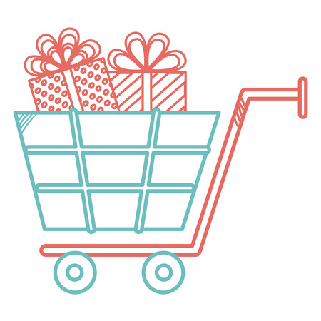 shopping cart with giftbox vector illustration design