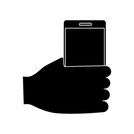 hand holding smartphone device wireless vector illustration  pictogram image Иллюстрация