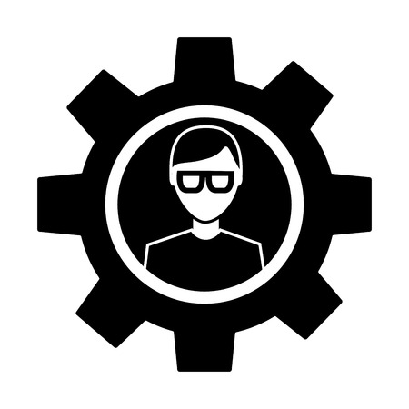 avatar with glasses inside gear setting technology  pictogram image