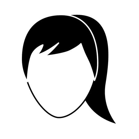 faceless woman profile avatar character vector illustration pictogram image 免版税图像 - 92181572