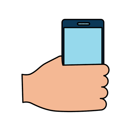 hand holding smartphone device wireless vector illustration