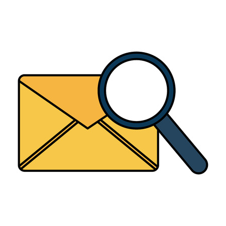 email magnifier search sms message vector illustration  Illustration