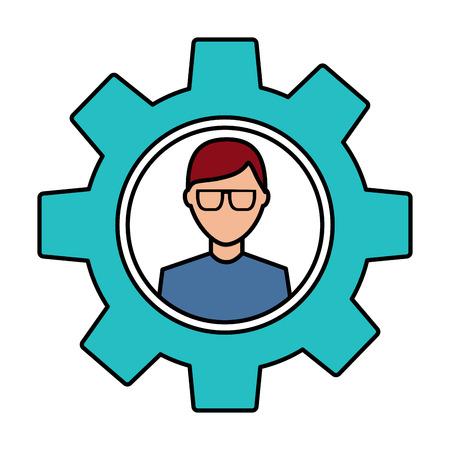 avatar with glasses inside gear setting technology Vector illustration. Illustration