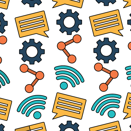 internet wifi share chat setting pattern vector illustration
