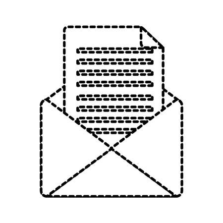 open message envelope icon image vector illustration design  black dotted line