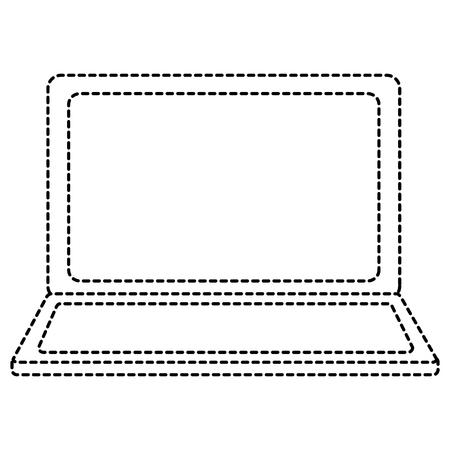 열린 노트북 장치 무선 기술 벡터 일러스트 그리기 스티커 이미지