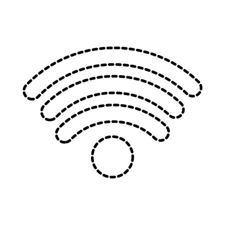 wireless internet signal icon image vector illustration design black dotted line