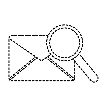 message envelope with magnifying glass icon image vector illustration design  black dotted line