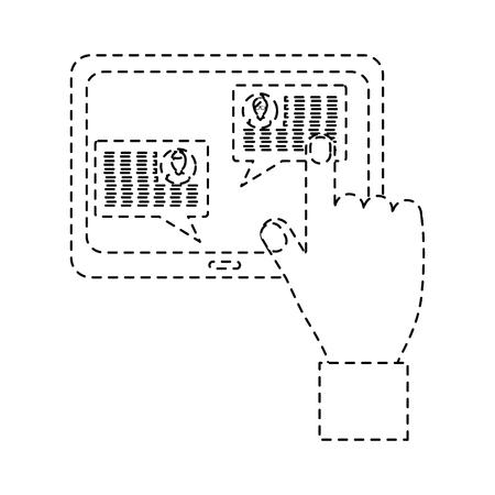 화면에 태블릿 메시지와 함께 손 아이콘 이미지 벡터 일러스트 디자인 검은 점선