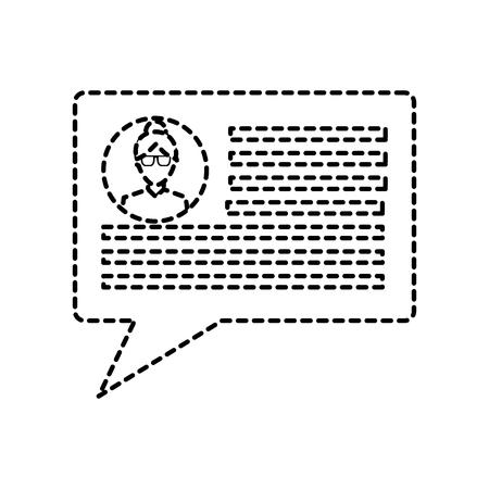 chatgesprek bubble met gebruikersprofiel pictogram afbeelding vector illustratie ontwerp zwarte stippellijn