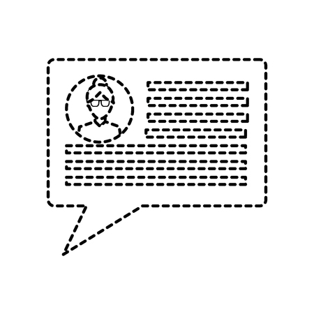 chat conversation bubble with user profile  icon image vector illustration design  black dotted line