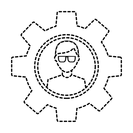 gear with person icon image vector illustration design  black dotted line