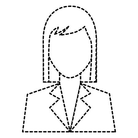 woman avatar portrait icon image vector illustration design  black dotted line Illustration