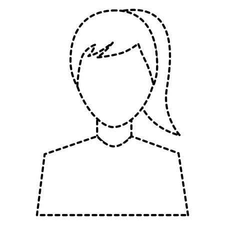 woman avatar portrait icon image vector illustration design  black dotted line Stock Vector - 92182517