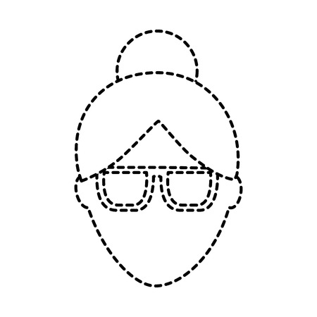woman glasses avatar icon image vector illustration design  black dotted line Illustration