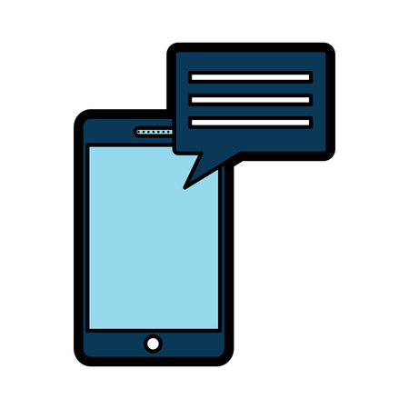 smartphone with chat bubble gadget icon image vector illustration design  Illustration