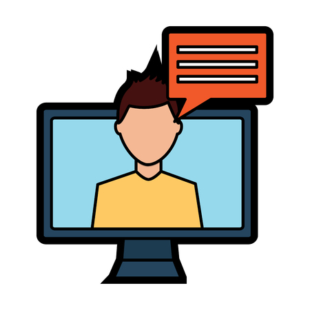 computer monitor with person talking on screen icon image vector illustration design