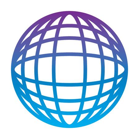 earth globe diagram icon image vector illustration design  purple to blue ombre line